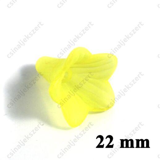 Sárga 22 mm akril jeges hatású harangvirág akril gyöngy
