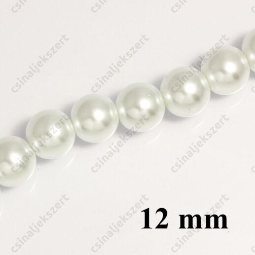 Tekla üveggyöngy Fehér 12 mm