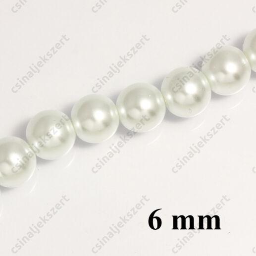 Tekla üveggyöngy Fehér 6 mm