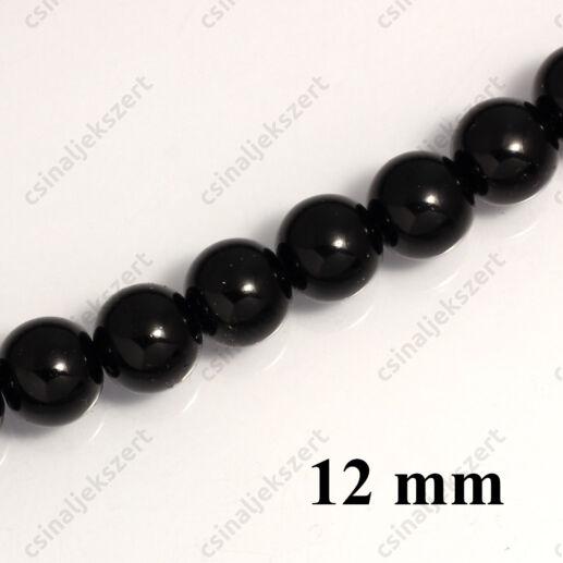 Tekla üveggyöngy Fekete 12 mm