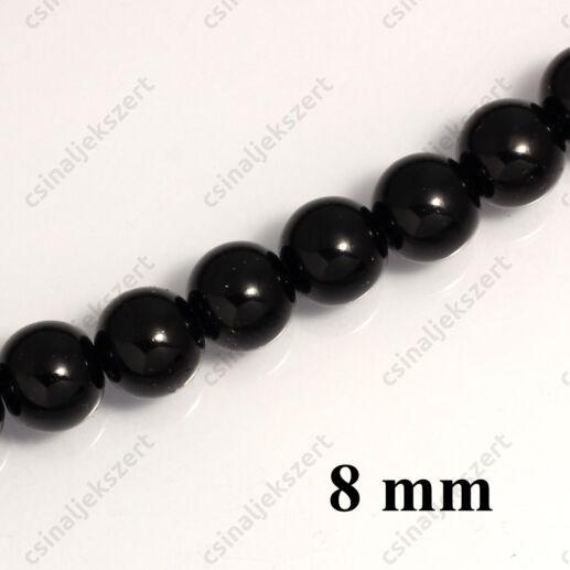 Tekla üveggyöngy Fekete 8 mm