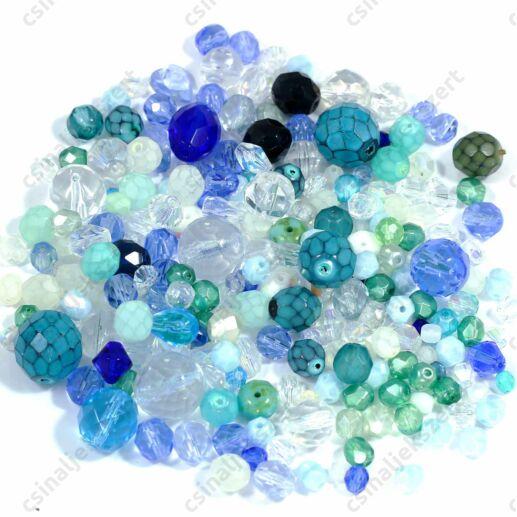 Vegyes Kék színű cseh csiszolt gyöngy mix