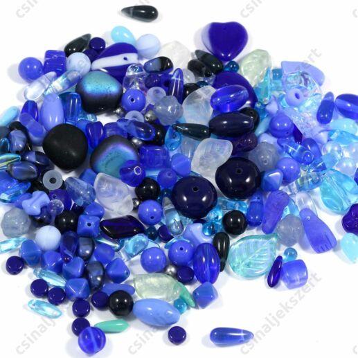 Vegyes Kék színű cseh préselt gyöngy mix