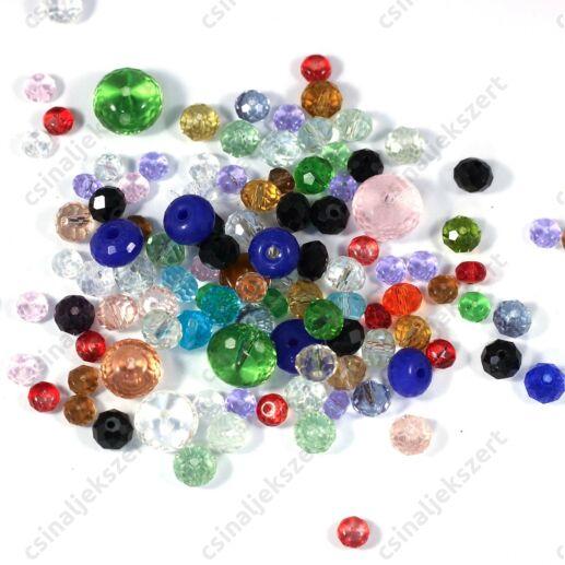 Vegyes csiszolt abacus rondell üveggyöngy