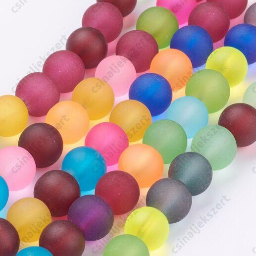 Vegyes színű 10 mm jeges hatású kerek üveggyöngy