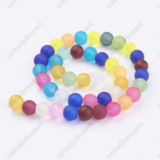 Vegyes színű 6 mm jeges hatású kerek üveggyöngy