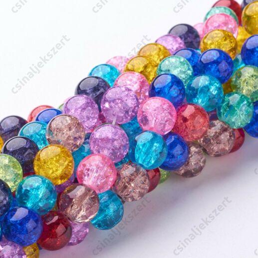 Vegyes színű 10 mm repesztett kerek üveggyöngy