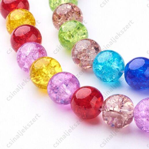 Vegyes színű 8 mm repesztett kerek üveggyöngy