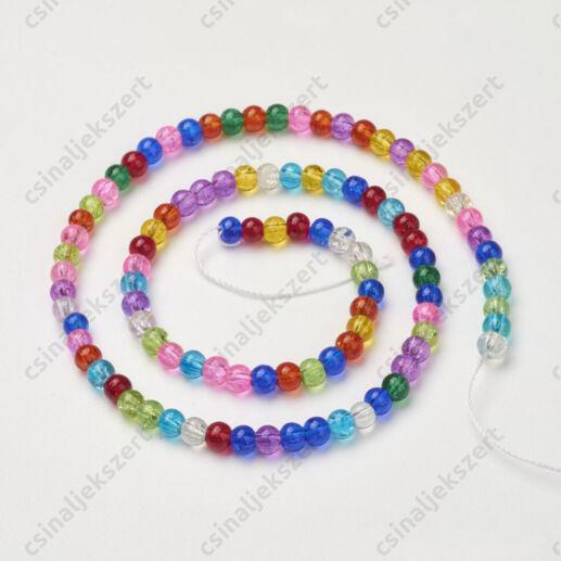 Vegyes színű 4 mm repesztett kerek üveggyöngy