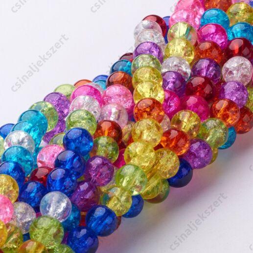Vegyes színű 6 mm repesztett kerek üveggyöngy
