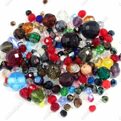 Vegyes színű cseh csiszolt gyöngy mix