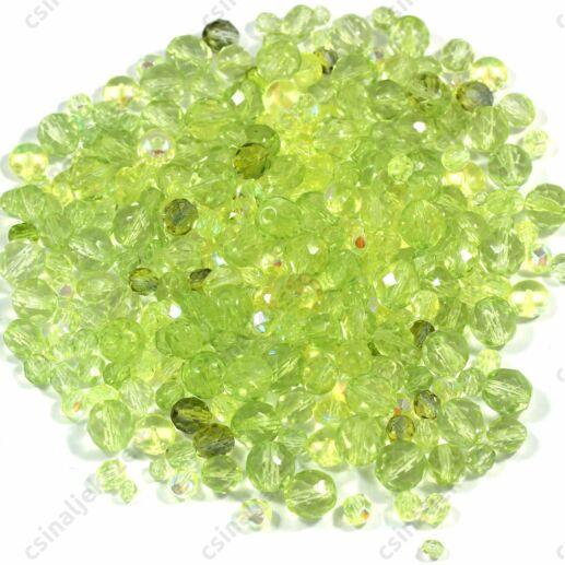 Vegyes Világoszöld színű cseh csiszolt gyöngy mix