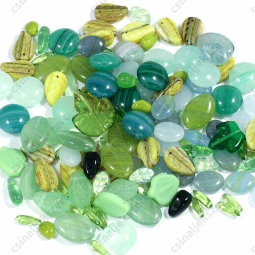 Vegyes Zöld színű cseh préselt gyöngy mix