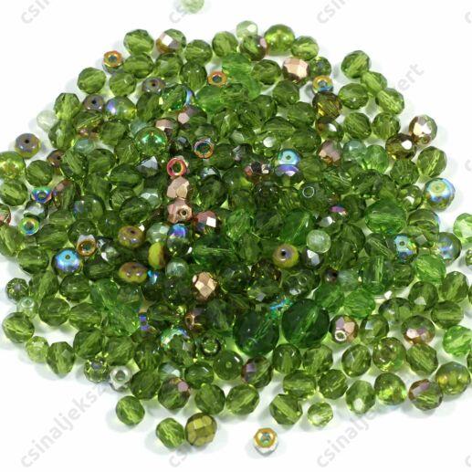 Vegyes Zöld színű cseh csiszolt gyöngy mix