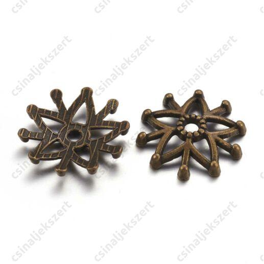 Antikolt bronz színű 16 mm filigrán csillagvirág gyöngykupak