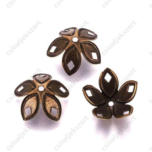 Antikolt bronz színű 18 mm filigrán virág alakú gyöngykupak