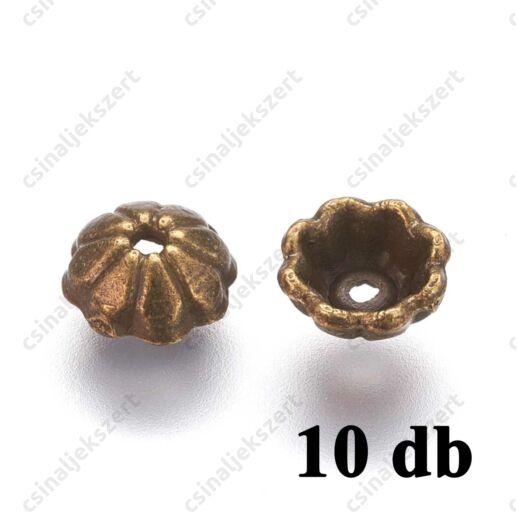 Antikolt bronz színű 6mm, virágszirmos, félgömb gyöngykupak