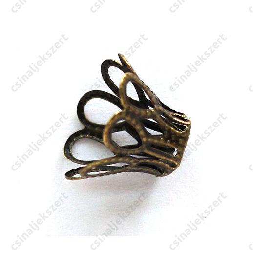 Antikolt bronz színű harang alakú gyöngykupak 17x11 mm