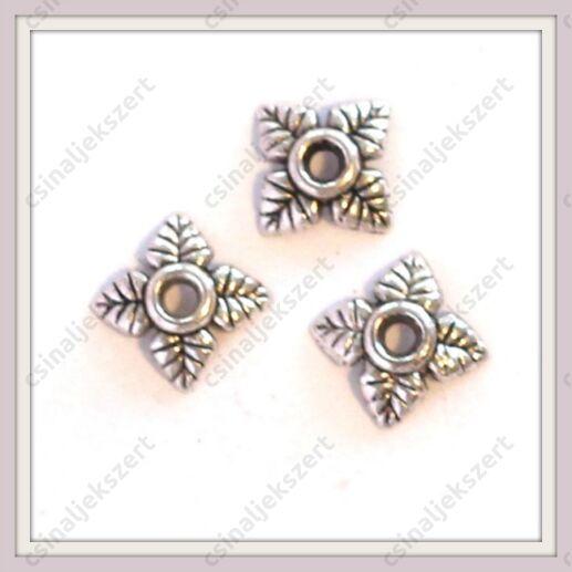 Antikolt ezüst színű csillagvirág gyöngykupak NIKKELMENTES
