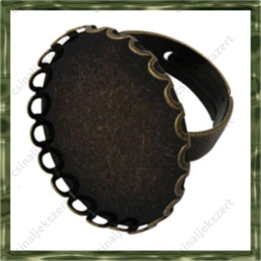 Antikolt bronz színű, réz, ovális hullámos gyűrű alap 18x25 mm