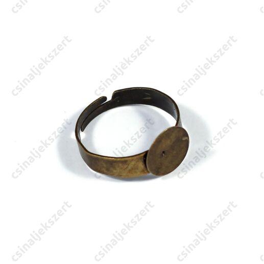 Antikolt bronz színű 10 mm lapkás gyűrű alap
