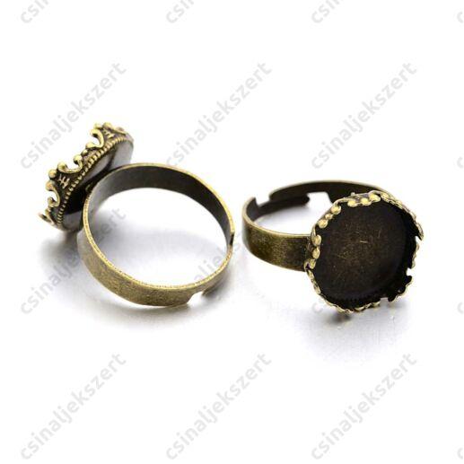 Antikolt bronz színű 12 mm koronás tányéros gyűrű alap
