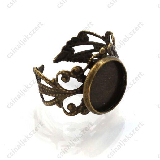Antikolt bronz színű filigrán díszes, tányéros gyűrű alap 12 mm