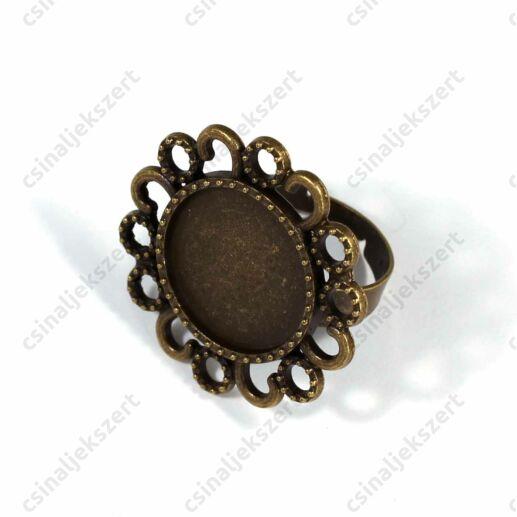Antikolt bronz színű pöttyös-hurkos szélű 18 mm tányéros gyűrű alap