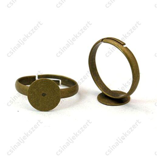 Antikolt bronz színű vékony lapkás gyűrű alap