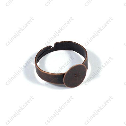 Antikolt vörösréz színű 10 mm lapkás gyűrű alap