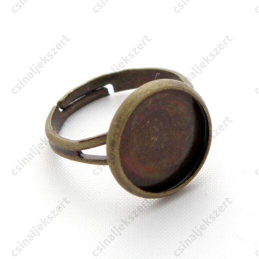 Antikolt bront / sárgaréz színű, kerek foglalatú gyűrű alap 12 mm NIKKELMENTES