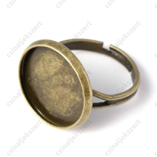 Antikolt bronz, sárgaréz színű, tányéros gyűrű alap 16 mm
