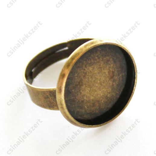 Antikolt bronz színű, réz vastag alapú tányéros gyűrű alap 16 mm