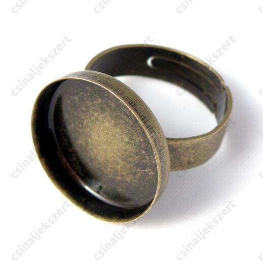 Antikolt bronz tányéros gyűrű alap 18 mm