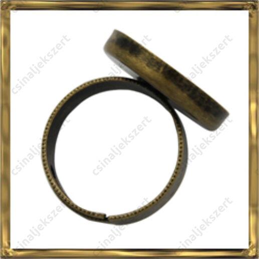 Antikolt bronz színű, réz, tányéros gyűrű alap 20