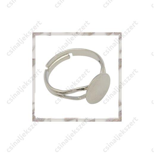 Ezüstözött, réz, vékony lapkás gyűrű alap