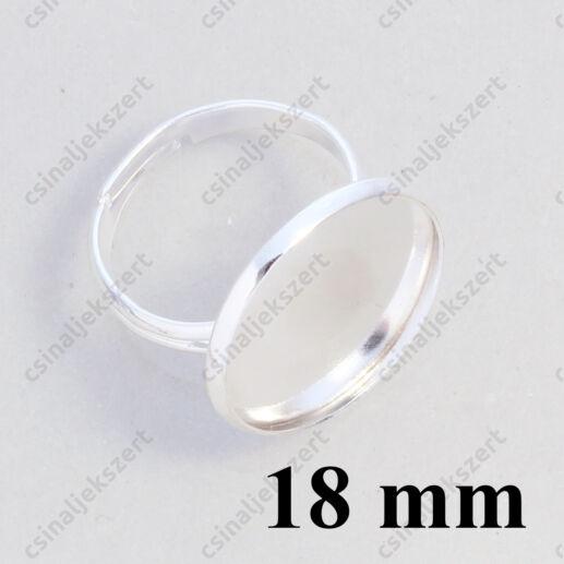 Ezüstözött, réz, tányéros gyűrű alap 18 mm