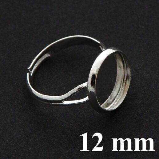 Ezüstözött réz, tányéros gyűrű alap 12 mm