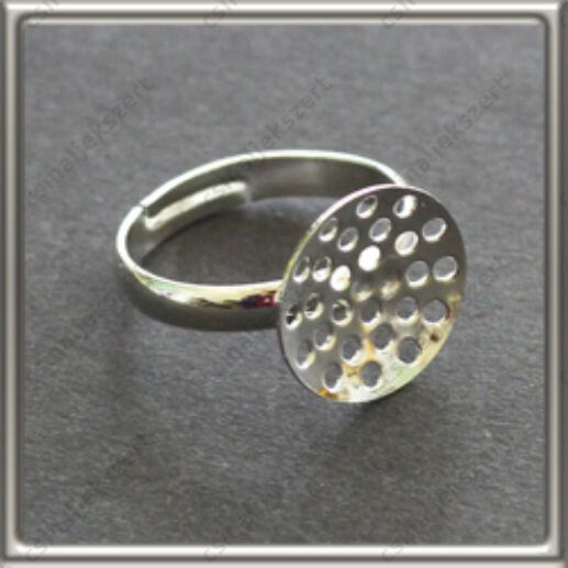 Ezüstözött réz szitás gyűrű alap