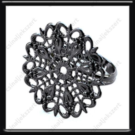 Fekete nikkel kerek filigrán díszes állítható vékony gyűrű alap
