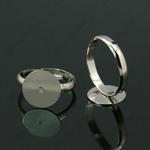 Ródiumos, állítható méretű 10 mm lapkás gyűrű alap