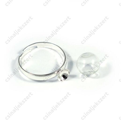 Ródiumos, foglalatos gyűrű alap 10 mm üveg búrával