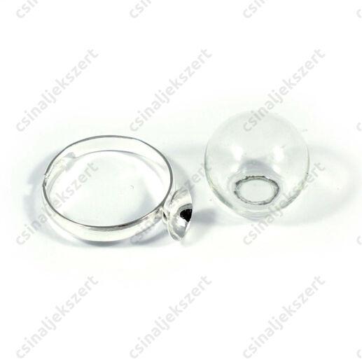 Ródiumos, foglalatos gyűrű alap 16 mm üveg búrával