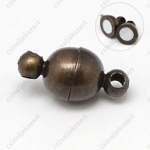 Antikolt bronz színű réz, 6 mm-es gömb alakú mágneses kapocs