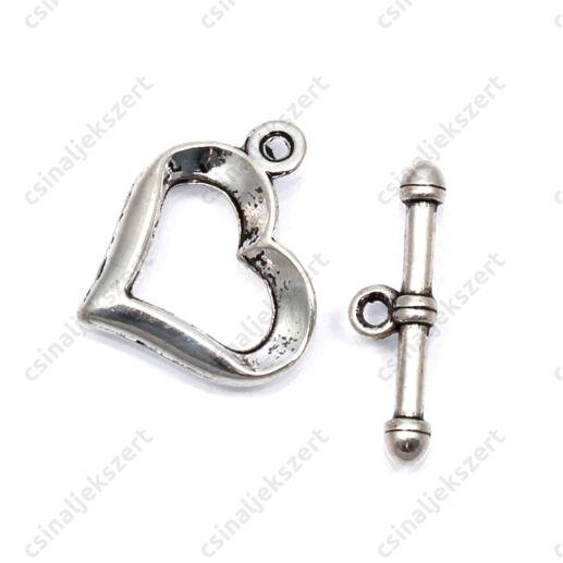 Antikolt ezüst színű szív alakú T kapocs