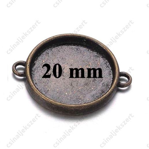 Antikolt bronz színű 20 mm kerek kapcsoló elem