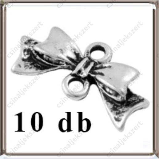 10 db Antikolt ezüst színű, masni kapcsoló elem