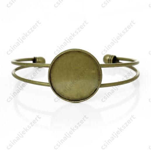 Antikolt bronz színű tányéros karperec kerek 25 mm