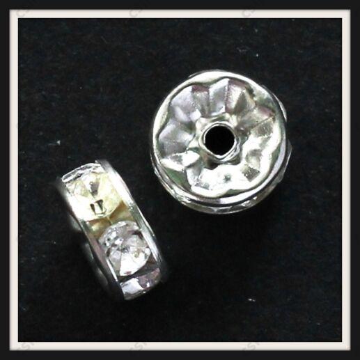 Ezüstözött strasszos rondell köztes 6 mm Crystal
