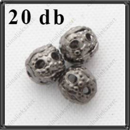Fekete nikkel filigrán áttört fém köztes gyöngy 4 mm
